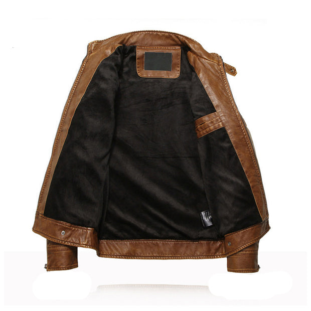 Mens stand-collar patchwork pu motorcycle leather jacket