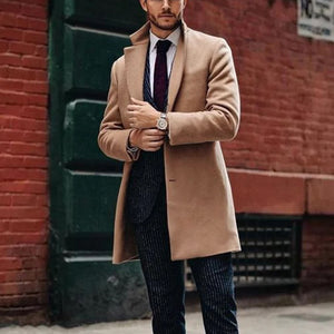 Fashion Plain Lapel Single Breasted Wool-Blend Coat