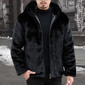 Mens Plain Faux Fur Coat