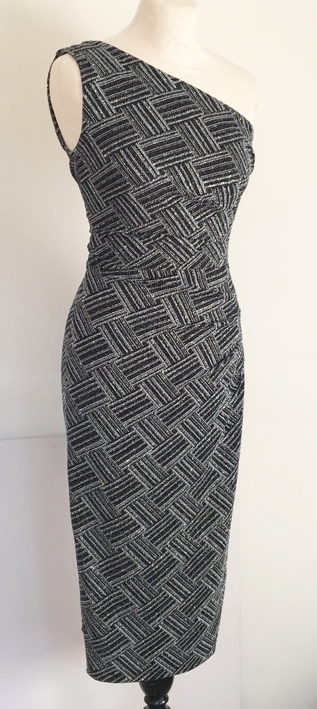 Silver black lurex cocktail wiggle dress 1950s 1960s vintage reproduction