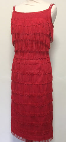 Wanda - Vintage 1950s Inspired Fully Fringed rockabilly Dress in RED