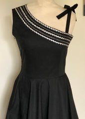 New Patio dress vintage 1950s style one shoulder Mexican full circle dress black white and silver XS to 3XL