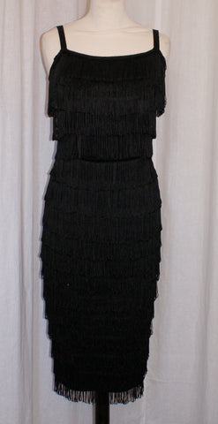 Wanda - Vintage 1950s Inspired Fully Fringed rockabilly Dress in jet Black