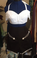 El Paso - White fringed halter neck sun top XS to XL