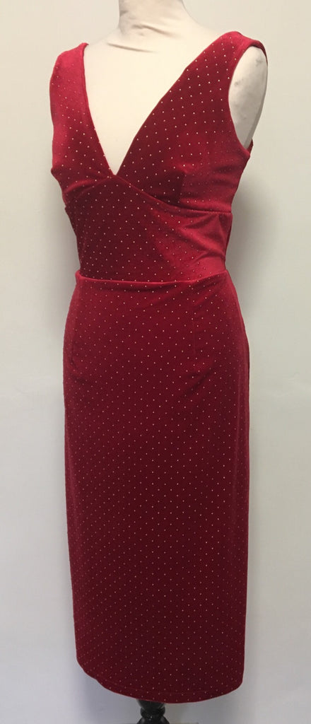Vintage 1950s cocktail wiggle dress red velvet metal studs