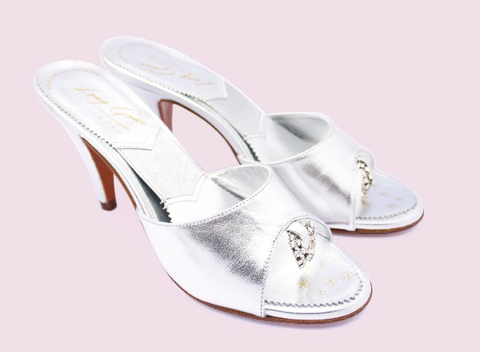 Long Gone Shoes Mamie silver springolator mules