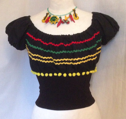 Mariachi - 1950s Vintage inspired Mexican fitted gypsy top XS to XXL