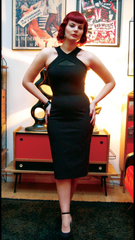 Lucille black Vintage 1950s style seductive cocktail wiggle dress with mesh keyhole bodice