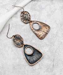 Copper vintage 1950s inspired drop earrings