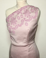 Vintage 1950s inspired cocktail pink lurex dress