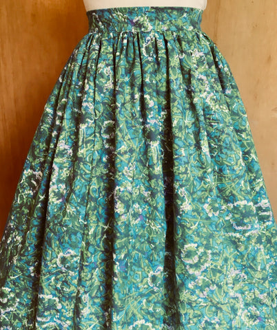 Full Dirndl Skirt in green and blue Vintage Fabric