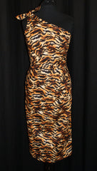 Dora Vintage 1950s inspired one shoulder cocktail wiggle dress in tiger XS to XXL