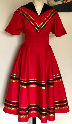 Patio dress vintage 1950s style Mexican full circle red and black XS to 3 XL