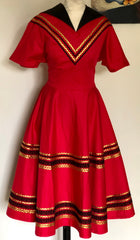 Patio dress vintage 1950s style Mexican full circle dress red and black XS to 3XL