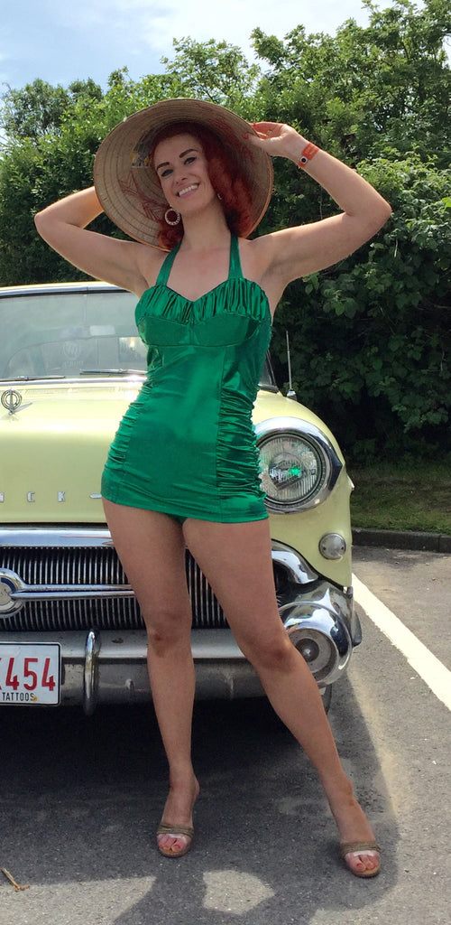 Swimsuit - Vintage 1950s inspired emerald green lame effect XS to XL