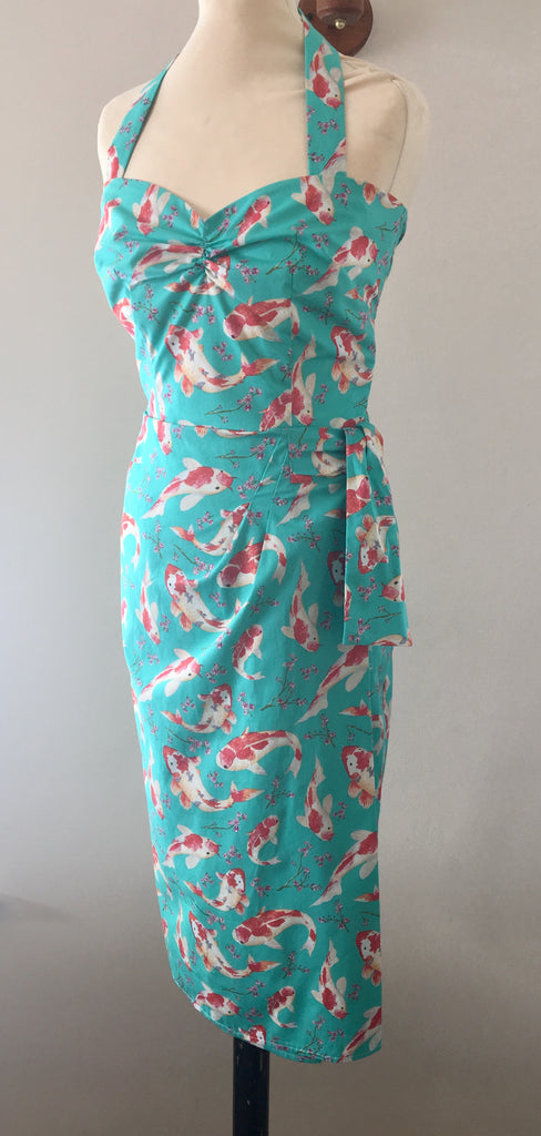 vintage 1950s inspired koi carp goldfish Hawaiian sarong dress and bolero