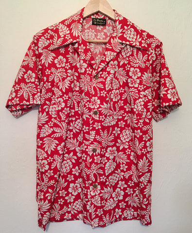 Hawaiian mans shirt - 1950s inspired short sleeved red and white shirt