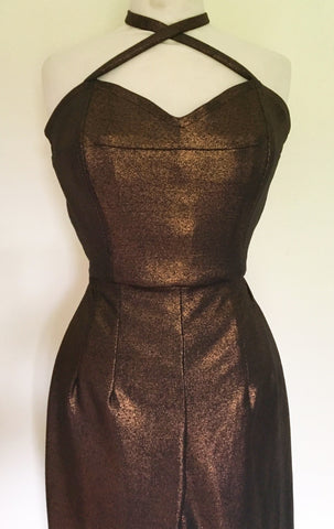 Jumpsuit - Vintage 1950s inspired metallic bronze Plain Jane Jumpsuit XS to XL
