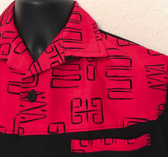 Mans two tone shirt - black with red atomic contrast short sleeved shirt Size M