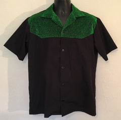 Mans two tone shirt - black with green lurex contrast short sleeve shirt Size S M L