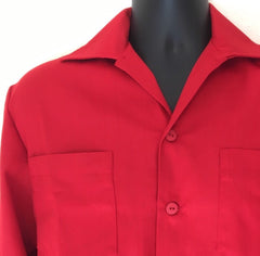 Mans shirt - Vintage 1950s inspired long sleeve in red deadstock gabardine S M L