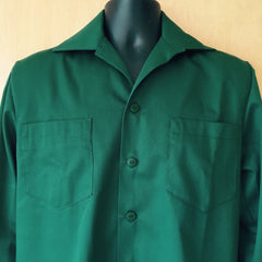 Mans shirt - Vintage 1950s inspired long sleeve in forest green deadstock gabardine S M L