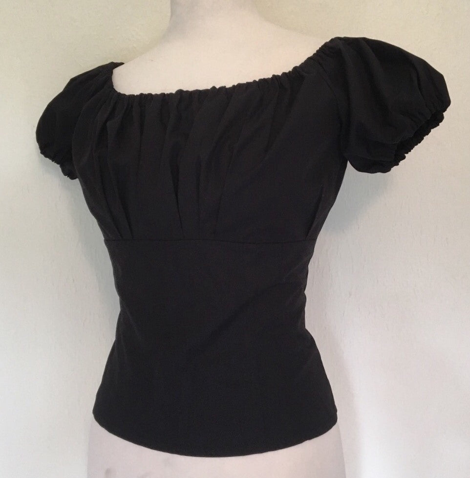 Gypsy top - Vintage 1950s inspired fitted gypsy top in jet black