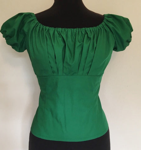 Gypsy top - Vintage 1950s inspired fitted gypsy top in emerald green