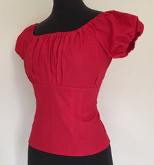 1950s vintage inspired red fitted gypsy pinup top blouse