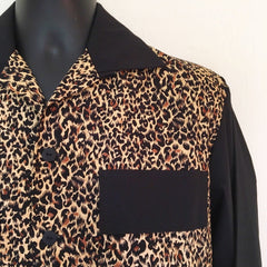 Mans shirt - Vintage 1950s inspired long sleeve leopard animal print contrast with black S M L