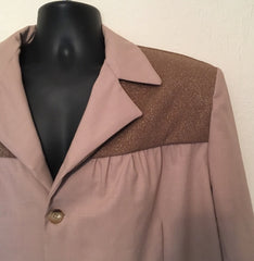 Mans casual jacket Vintage 1950s style in caramel vintage wool suiting and lurex 42 chest
