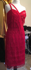 Bettina - Vintage 1950s Inspired red fully Fringed with sequins wiggle dress