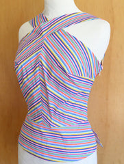 stripe reverse halter neck top vintage 1950s inspired pinup girl