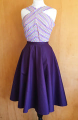 Doris - Vintage 1950s inspired full circle skirt in purple XS to 3xl