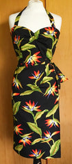 1950s vintage reproduction Hawaiian sarong halter dress black