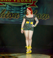 vlv fashion show 1950s vintage inspired pinup girl high waist harlequin shorts