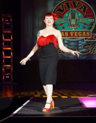 Ruby - Vintage 1950s reproduction hourglass wiggle dress with red fringe