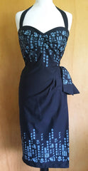 Hawaiian 1950s vintage style oriental letters black sarong dress rockabilly vlv