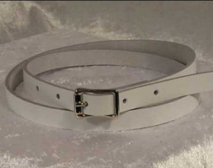 Leather belt narrow one inch wide white