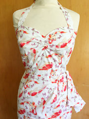 Vintage 1950s repro Hawaiian sarong dress cream koi carp fish