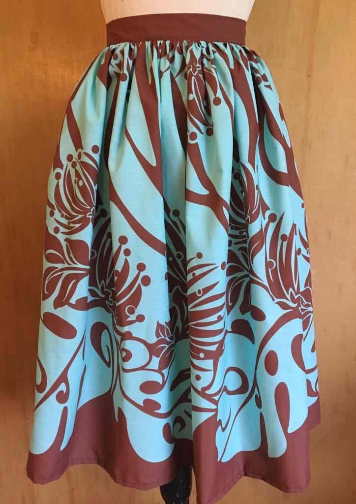 Full skirt - vintage 1950s inspired Hawaiian turquoise and brown border print XS to L