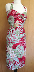Vintage 1950s reproduction Hawaiian sarong rayon halter red Rockabilly dress