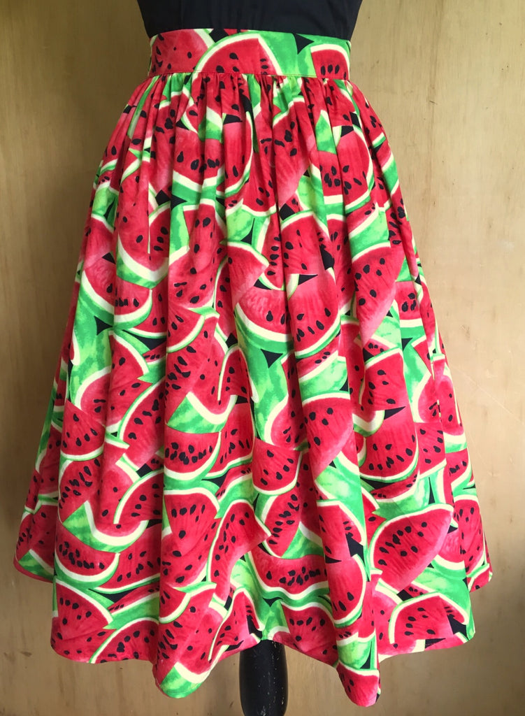 Full skirt - vintage 1950s inspired watermelon novelty print cotton XS to XL