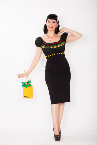 Gypsy wiggle Senorita dress - Vintage 1950s inspired Mexican themed rockabilly dress