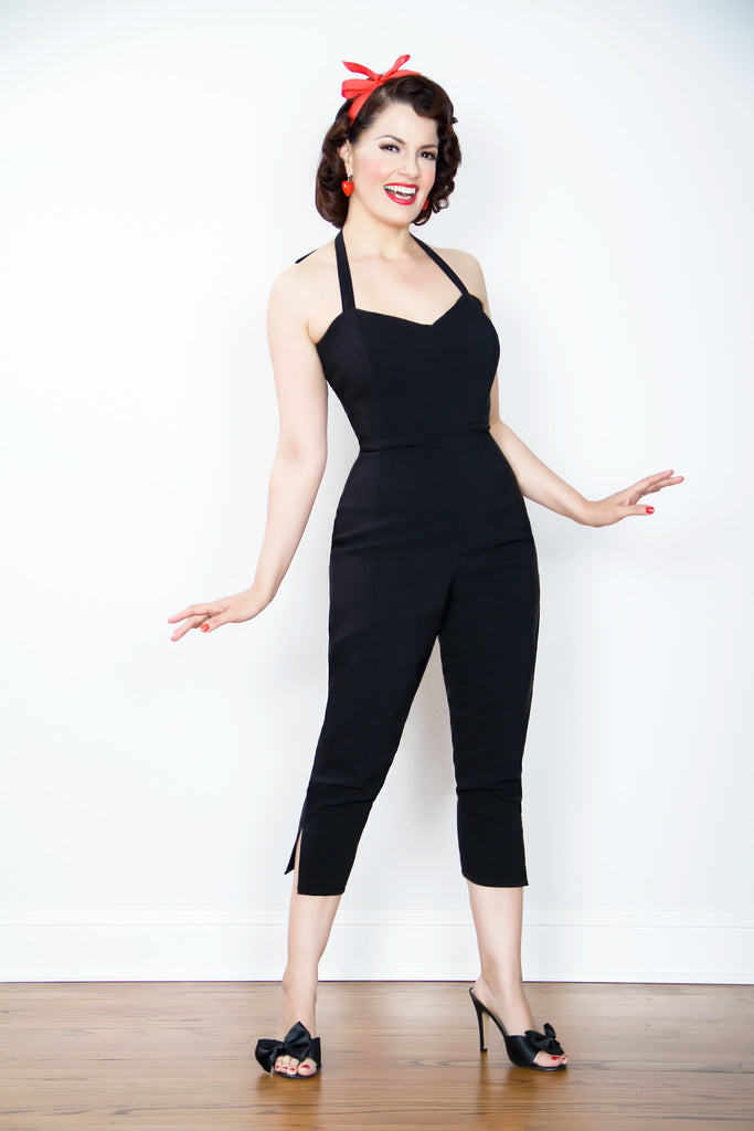 vintage 1950s inspired black stretch jumpsuit jane russell