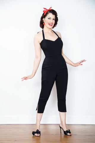 Jumpsuit - Vintage 1950s inspired Plain Jane Jumpsuit in Inky Black XXS to XL