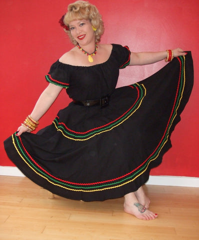 Senorita - Vintage 1950s inspired Mexican full circle skirt XXS to 3XL