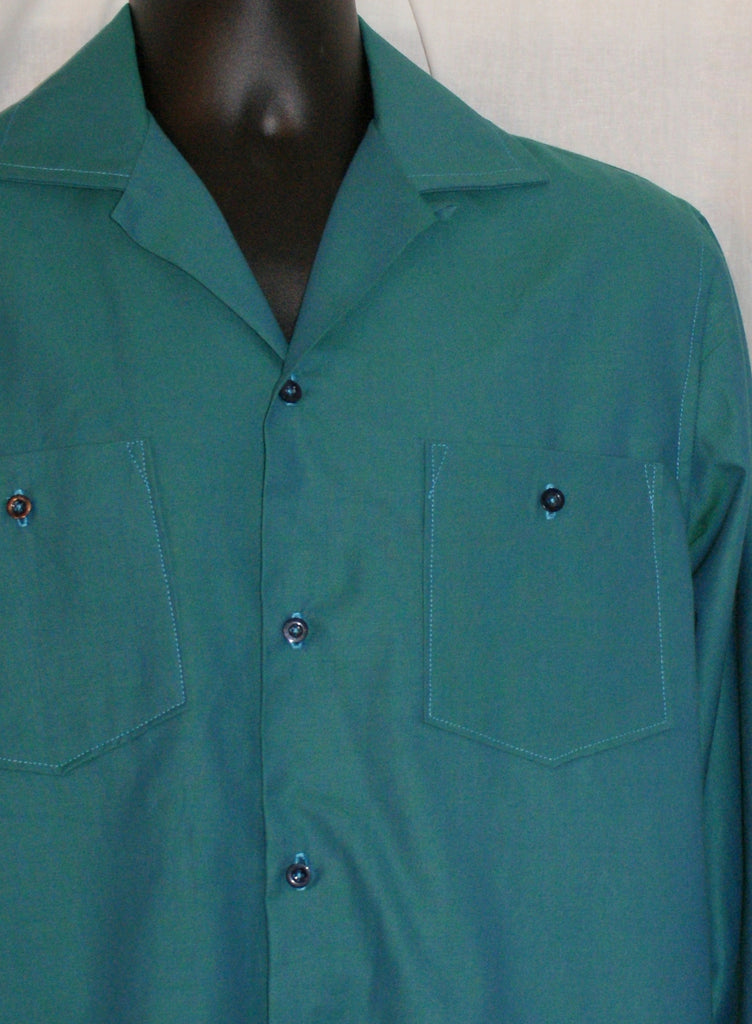 Mans shirt - Vintage 1950s inspired long sleeve blue green shot cotton shirt Size S only
