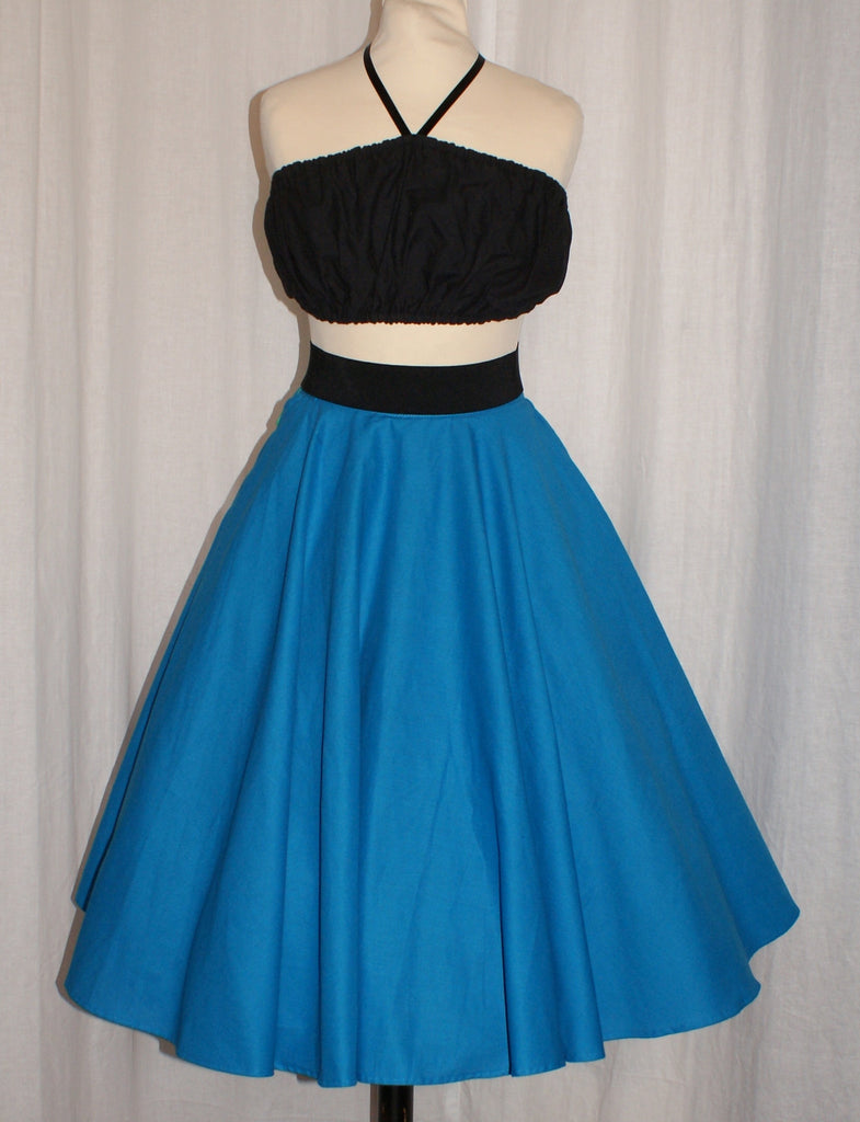 SALE Doris - Vintage 1950s inspired full circle skirt in cerulean blue xxs m xl