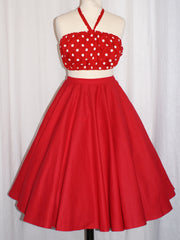 Doris - Vintage 1950s inspired full circle skirt in red XS to 3XL